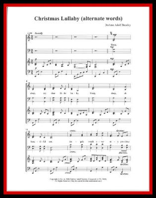 Christmas Lullaby Alternate Words SATB